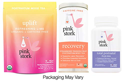 Pink Stork Recovery Bundle: Total Postnatal Vitamin, Recovery Tea, Uplift Tea -Support Healthy Postpartum and Nursing with Herbs and Vitamins ()
