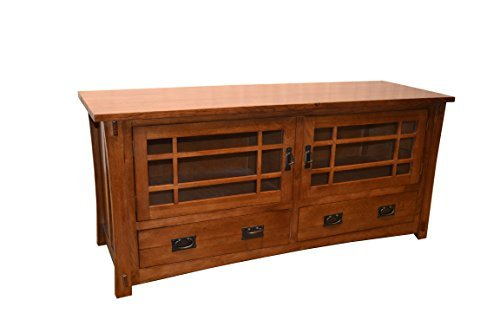 Amish Console - Crafters & Weavers Mission Style Solid Oak Tv Stand Entertainment Console
