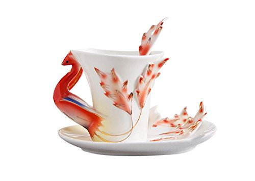 Elegant Handpainted Collectable Fine Arts China Porcelain Tea Cup and Saucer Coffee Cup Mascot Phoenix Theme Romantic Creative Present for Wedding/christmas Three Sets (Yellow)