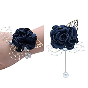 Florashop Satin Rose Wrist Corsage & boutonniere Wedding Bridal Bridesmaid Wrist Corsage Wristband and Men's Groom Bridegroom Boutonniere for Wedding Prom Party Homecoming 12