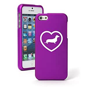 """Apple iPhone 6 Plus (5.5"""") Snap On 2 Piece Rubber Hard Case Cover Dachshund Heart (Purple)"""