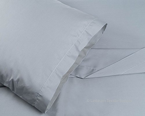 Wholesale Bed Sheets - Linteum Textile Supply 100% Cotton Bed Sheet Set - 3 Piece Bedding Set, Flat Sheet, Fitted Sheet and Pillow Case - Wholesale Extremely Durable 250 Thread Count Made in USA (Twin, Stone Grey)