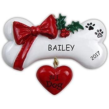 Amazon.com: Dog Bone Personalized Christmas Tree Ornament: Home ...