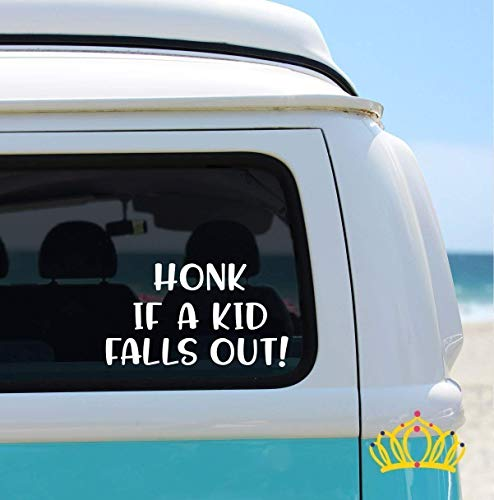 Honk If A Kid Falls Out, Funny Car Decal, Funny Mom Decal - 3 inches, White