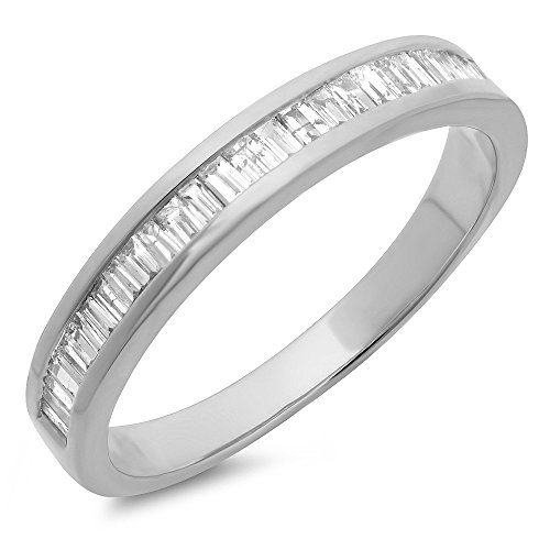 Dazzlingrock Collection 0.13 Carat (ctw) 10K Baguette Cut White Diamond Ladies Stackable Wedding Band, White Gold, Size 8