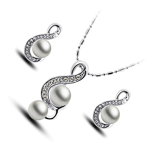 GWG Sterling Silver Plated Jewellery Set of Pendant Necklace and Earrings Treble Clef Design Graced with White Pearl Within for Women ()