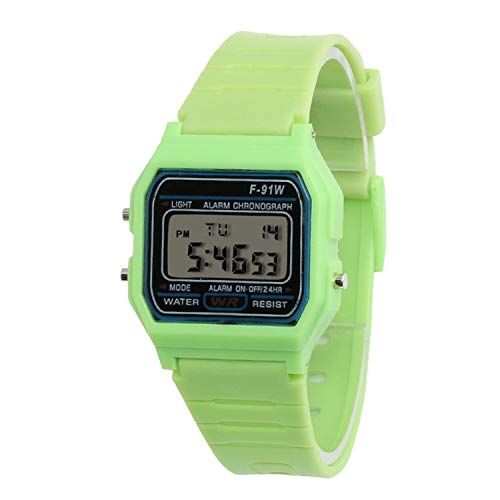 Digital Watch Men Women Couple Watches Silicone Strap Kids Sport Alarm Clock Student Gift 7 Colors,Green