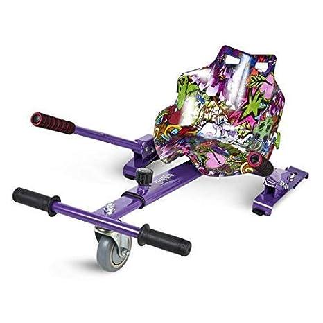 ECOXTREM Hoverkart, Asiento Kart, Lila diseño Hip Hop, con manillares Laterales, Barra Ajustable. Accesorio para patinetes eléctricos Hoverboard 65