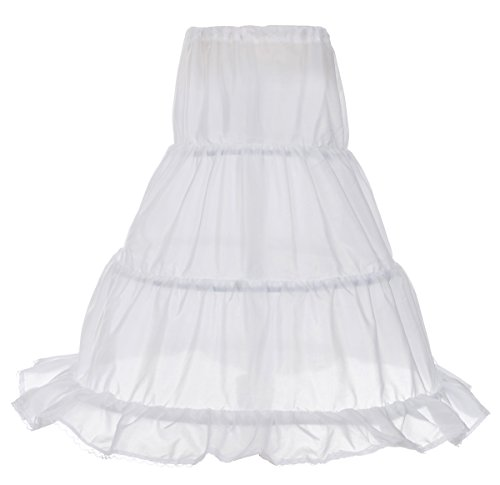 (Dressy Daisy Girls 3-Hoop Crinoline Petticoat Slip Underskirt for Girl Dresses Length 25 Inches White)