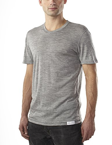 Woolly Clothing Men's Merino Wool Crew Neck Tee Shirt - Ultralight - Wicking Breathable Anti-Odor M Gry