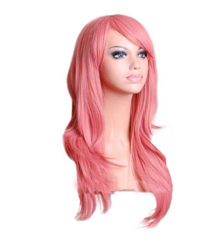 28 70cm Long Hair Heat Resistant Curly Cosplay Wig with Wig Cap (Pink)