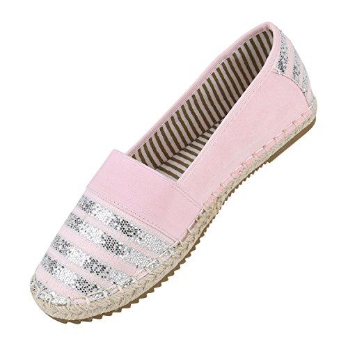 Stiefelparadies Damen Bast Espadrilles Glitzer Streifen Slipper Flats Flandell Rosa Aline