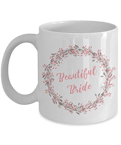 Bride Coffee Mug - Wedding Mugs - Bride and Groom Mugs - Wifey Mug - Pretty Wreath Cup with Flowers