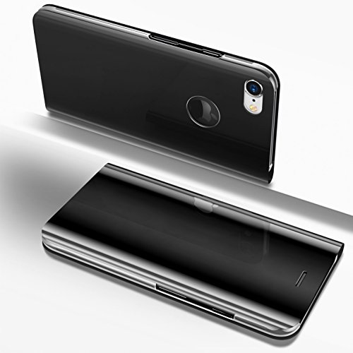 PHEZEN iPhone 6 Plus / 6S Plus Case, Luxury Mirror Makeup Case Plating PU Leather Flip Folio Wallet Case [Kickstand Feature] Magnetic Closure Full Cover Case for Apple iPhone 6 Plus/6S Plus (Black) by PHEZEN