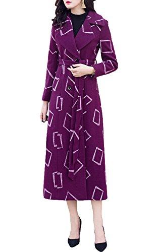 Purple Violet Femme Plaid Manteau Plaer UqHRpwR