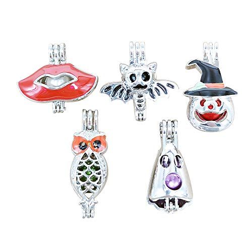 Dandan DIY 5pcs Halloween Spider Owl Pumpkin Assorted Styles Hollow Diffuser Locket Alloy Cage Perfume Essential Oil Aromatherapy Diffuser Charms Pendant Craft Diffusion Ball for $<!--$4.99-->
