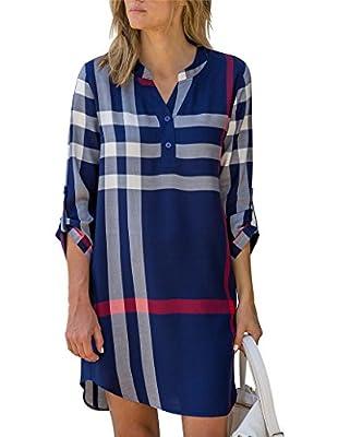 Jusfitsu Women's V Neck Roll-up Sleeve Blouse Mid Long Plaid Shirt Dress