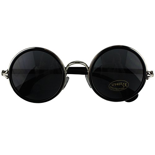 Easykan Women's Vintage Inspired Metal Small Round Circle Sunglasses 52mm with Case (Black)