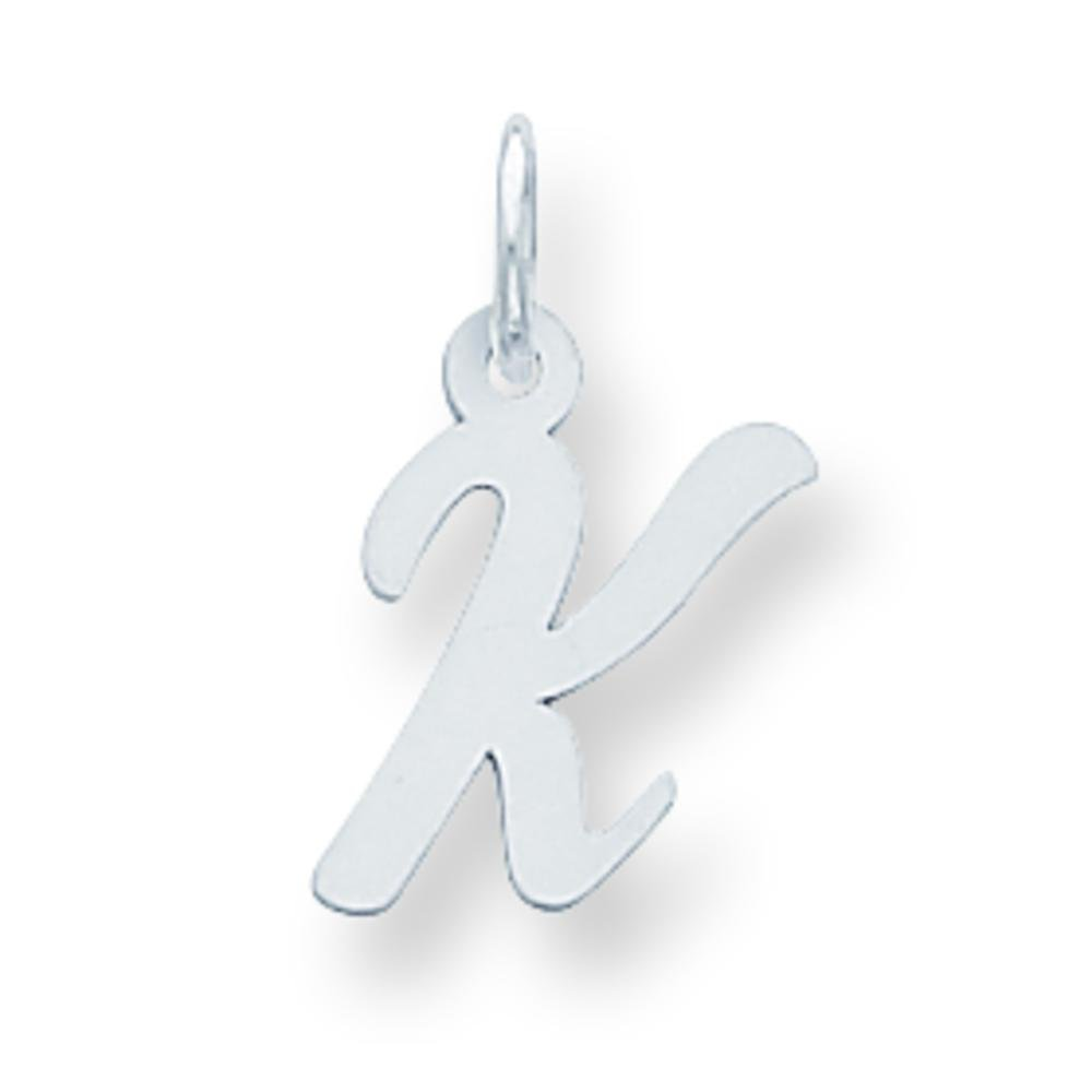 Sterling Silver Small Script Initial Letter K Charm