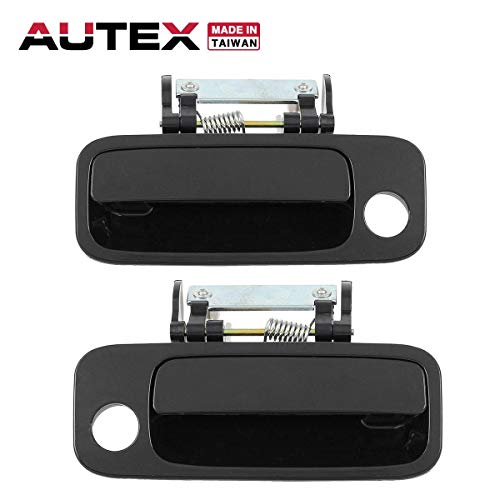 AUTEX 1pc Front Left (Driver Side) + 1pc Front Right (Passenger Side) Black Outer Exterior Door Handle Compatible with 2000 2001 2002 2003 2004 Toyota Avalon -