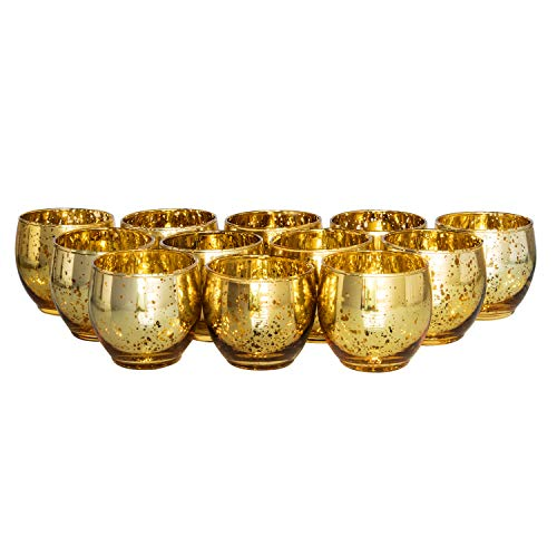 (Royal Imports Gold Mercury Glass Votive Candle Holder, Table Centerpiece Tealight Decoration for Elegant Dinner, Party, Wedding, Holiday, Roly Poly Set of 12 (Unfilled))