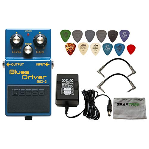 Boss BD-2 Blues Driver Pedal Distortion & Overdrive Guitar Effects Pedal with 1 x Power Supply 2 x Patch Cables with 12 Pick Variety Pack and Zorro Sounds Pedal Polishing Cloth