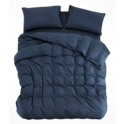 PURE ERA Ultra Soft Solid Cotton Jersey Knit Home Bedding 3 Pieces Duvet Cover Set 1 Comforter Cover 2 Pillow Shams Navy Blue Queen Size