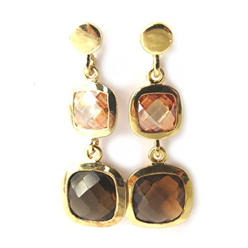 Earrings plated gold 'Linda' brown.