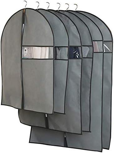 衣服カバー ガーメントバッグスーツバッグや保護スリーブファスナー透明ウィンドウサイズ+ X1 +中大を備えた衣類のストレージ浸透性衣服カバーを旅不織布6 (Color : GRAY, Size : XL+L+M)
