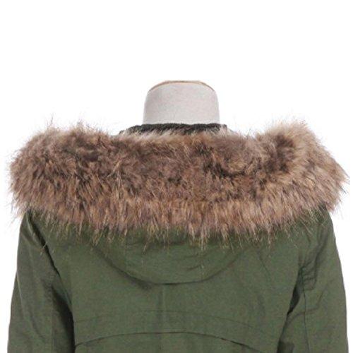 VADOOLL Chaqueta Abrigo Parka con Capucha de Invierno para Mujer GREEN2