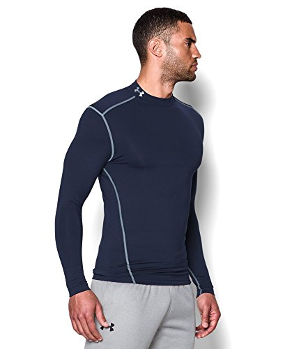Under Armour Men's ColdGear Armour Compression Mock Long Sleeve Shirt, Midnight Navy (410)/Steel, XXX-Large by Under Armour (Image #2)
