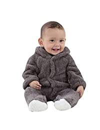 Fartido Baby Boys Girls Flannel Keep Warm Cartoon Hooded Romper Jumpsuit