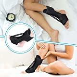 LIUMY Plantar Fasciitis Night Splint, Orthotic Foot Drop Brace, Adjustable Elastic Dorsal Brace for Plantar Fasciitis, Heel or Ankle Ache, Achilles Tendonitis with Massage Ball - Black
