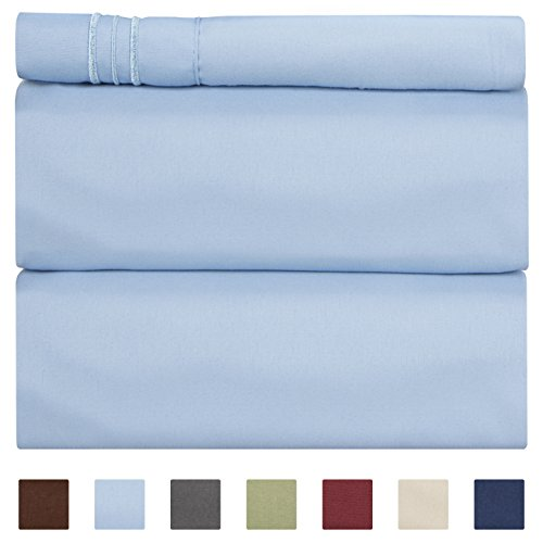 Twin Size Sheet Set - 3 Piece - Hotel Luxury Bed Sheets - Extra Soft - Deep Pockets - Easy Fit - Breathable & Cooling - Wrinkle Free - Comfy – Light Blue Bed Sheets Baby Blue Twins Sheets - 3 PC
