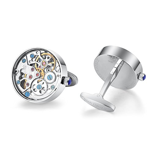 Dich Creat Men's Stainless Steel Wind-up Working Movement Cufflinks Covered with Glass