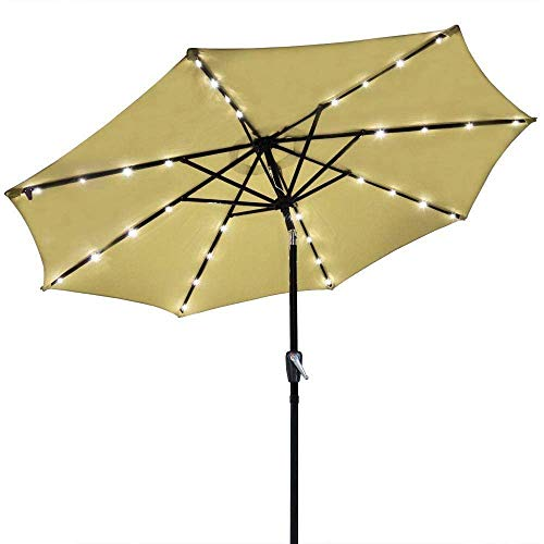 AMPERSAND SHOPS 9 Ft. Outdoor Patio Tilt Umbrella with Solar-Powered LED Lights (Beige)