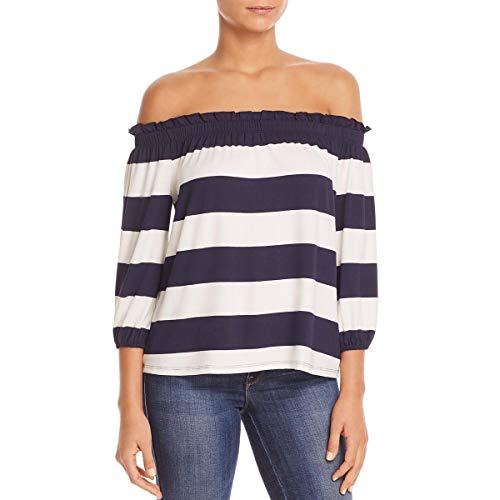 Three Dots Women's South Hampton Stripe mid Loose Off Shoulder top, Navy/Natural, Small (Hamptons Summer Stripe)