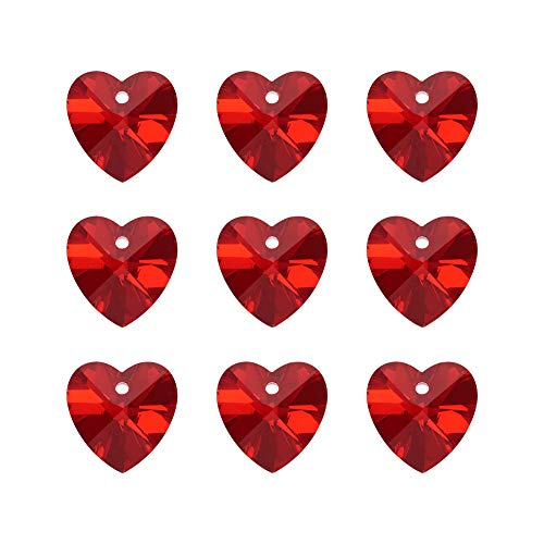 Craftdady 100Pcs Faceted Glass DarkRed Sweet Heart Charms 14x14mm with Silver Plated Back for DIY Jewelry Craft Making ()