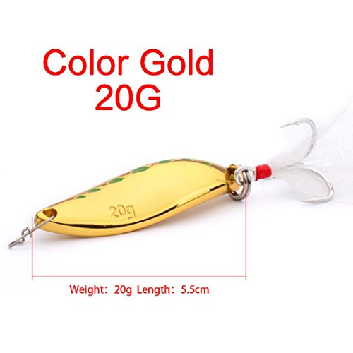 Leader 100 Yds Spool (Coohole 1 PC Spoon Fishing Lure 20g 15g 10g Metal Fishing Bait Feather Hook Bass Baits (A))