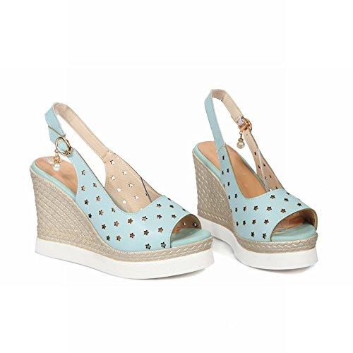 Charm Fot Mode Kvinna Kilar Plattform Peep Toe Sandal Blå