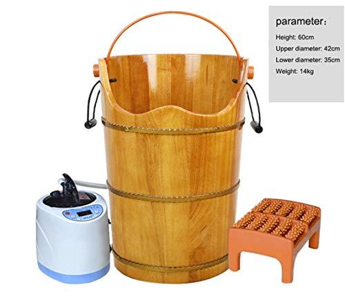et, steam bucket, gynecological sitting smoke barrel, solid wood foot bucket, heated foot bath barrel,Black ()