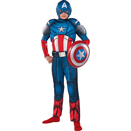 Costumes USA Captain America Muscle Costume for Boys, Size Small, Includes a Padded Jumpsuit, a Hood, and a Tool Belt]()