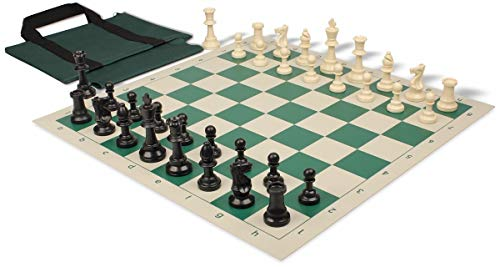 Standard Club Easy-Carry Plastic Chess Set Black & Ivory Pieces with Green Roll-up Chess Board & Bag