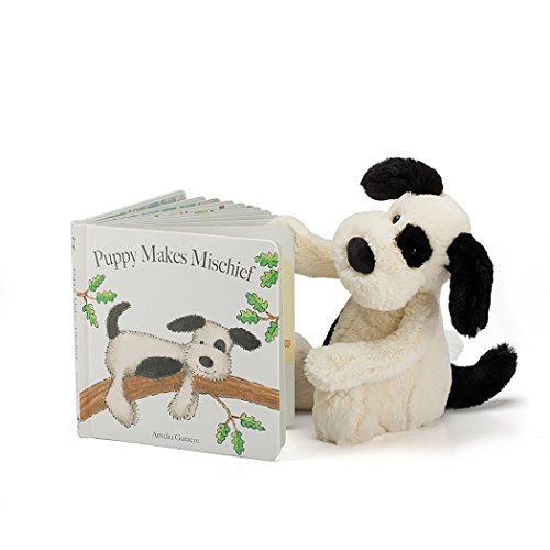 (Jellycat Puppy Makes Mischief Board Book and Bashful Black and Cream Puppy, Medium 12 inches)