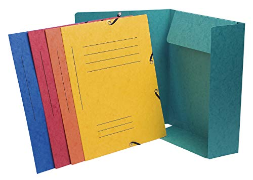 Exacompta 55360E Binders Manila Cardboard Elasticated, 3 Dividers, Print, 355G A4 Pack of 10 Assorted Colours