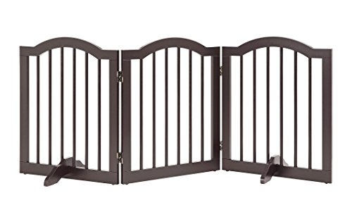 UniPaws- Freestanding Arch 24'' Step Over Dog Gate w/ Support Feet (Espresso) | Up to 60'' Wide | Assembly-free | Sturdy Wooden Structure | Foldable Design by UniPaws