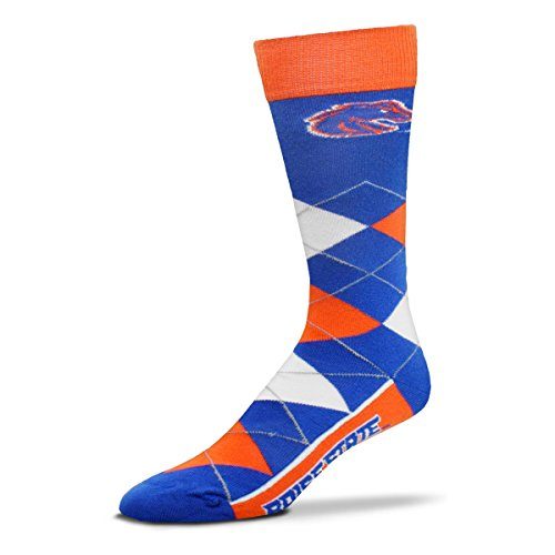 Boise State Watch - For Bare Feet NCAA Argyle Lineup Crew Socks (Boise State Broncos, One Size Fits Most)