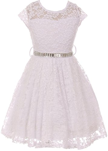 Charmeuse Lace Corset (Little Girls Illusion Lace Top Stone Belt Flowers Girls Dresses White 4 (J19KS88))