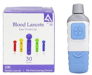 Bayer Microlet 2 Lancing Device + 100 Active1st 30g Lancets by active1st