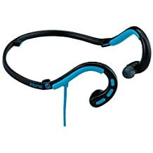 iHome Water-Resistant Foldable Behind The Neck Sport Earphones with In-Line Mic, Remote and Pouch, Black/Blue (IB14BLXC)